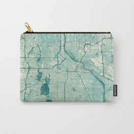 Minneapolis Map Blue Vintage Carry-All Pouch
