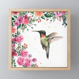 Hummingbird and Flowers Watercolor Animals Framed Mini Art Print