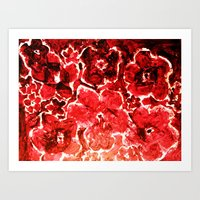 burgundy Art Prints featuring Burgundy Flowers by ES Creative Designs