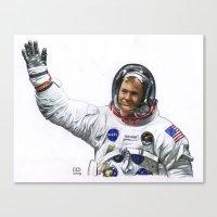 neil gaiman Canvas Prints featuring Neil by Ed Hengeveld Space Art