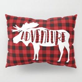 Red Buffalo Plaid Moose ADVENTURE typography Pillow Sham