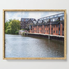 Waterside flats on the River Wensum, Norwich Serving Tray