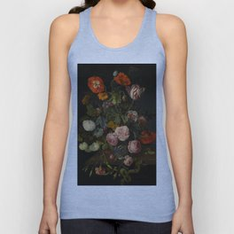 "Cornelis Kick ""A still life with parrot tulips, poppies, roses, snow balls, and other flowers"" Unisex Tank Top"