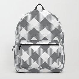 Ultimate Gray White modern farmhouse buffalo check diagonal Backpack
