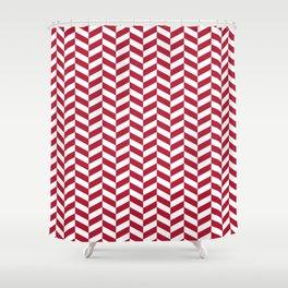 Crimson Red Herringbone Pattern Design Shower Curtain