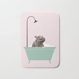 Hippo Enjoying Bubble Bath Bath Mat