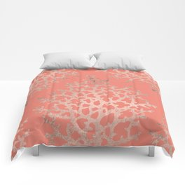 Faux rose gold coral sea hand drawn pattern salmon pattern Comforters