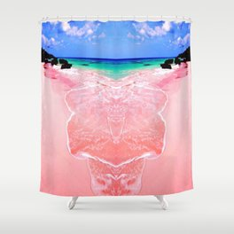 Elafonissi Chania Pink and Turquoise Sea Shower Curtain