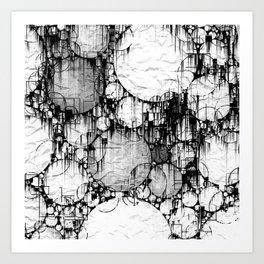 Glitch Black & White Circle abstract Art Print