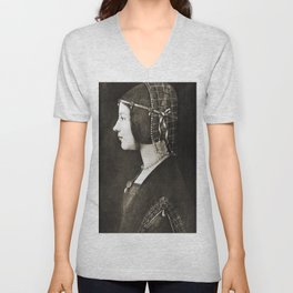 Bianca Sforza by Leonardo da Vinci Unisex V-Neck