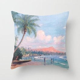 Waikiki Beach, Diamond Head, Oahu landscape painting by D. Howard Hitchcock Throw Pillow
