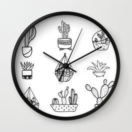 Minimalist Cacti Collection Black and White Wall Clock