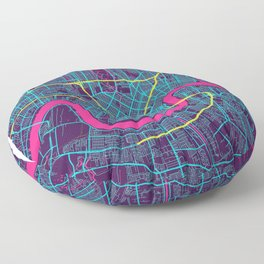 New Orleans Neon City Map, New Orleans Minimalist City Map Floor Pillow