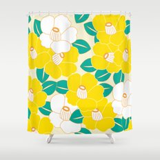 Japanese Style Camellia - Yellow and White Shower Curtain
