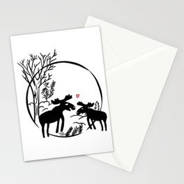 Moose in love Stationery Cards