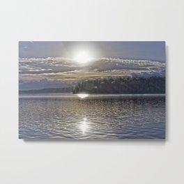 Sun Rising Over Lake Metal Print