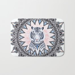 White Tiger Sapphire and Rose Mandala Bath Mat
