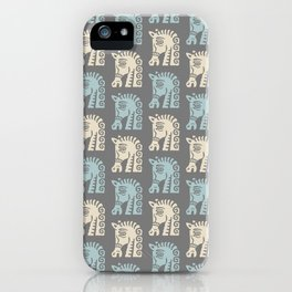 Mid Century Horse Pattern Grey Blue and Beige iPhone Case