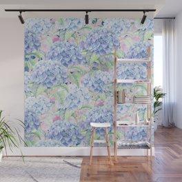 Botanical pink lavender watercolor hortensia floral Wall Mural