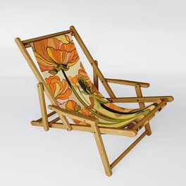 70s, Orange California poppies, mid century, 70s retro, flowers Sling Chair