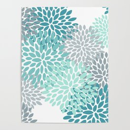 Floral Pattern, Aqua, Teal, Turquoise and Gray Poster