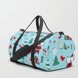Cute Christmas cat blue Duffle Bag