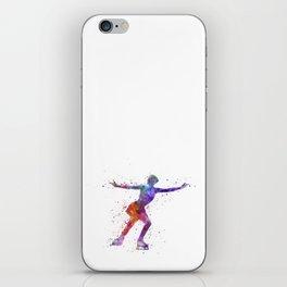 Figure skating 1 in watercolor with splatters iPhone Skin