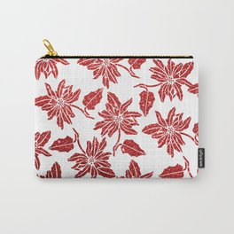 Modern red white faux glitter poinsettia elegant floral Carry-All Pouch