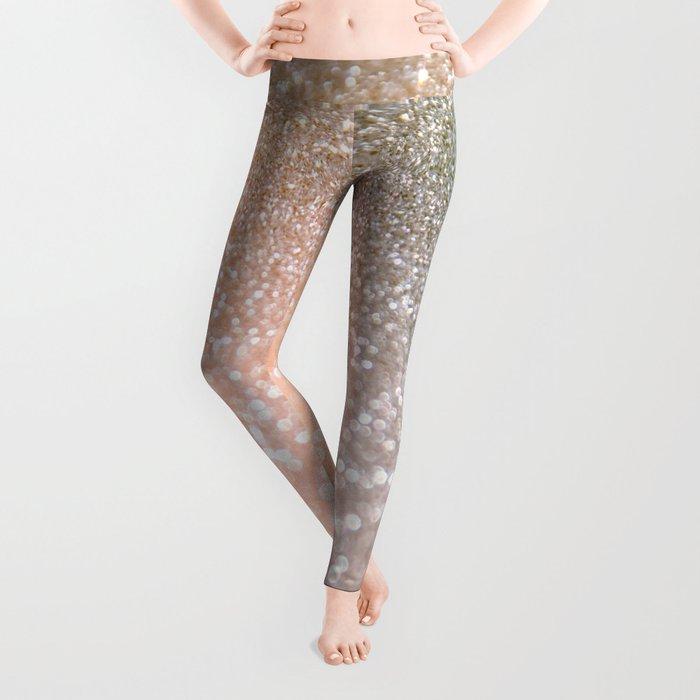 Rosequartz Rose Gold glitter - Pink Luxury glitter sparkling design Leggings