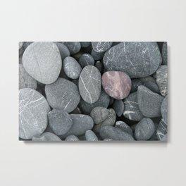 Pink rock on a grey beach Metal Print