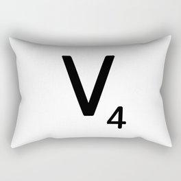 Letter V - Custom Scrabble Letter Tile Art - Scrabble V Initial Rectangular Pillow