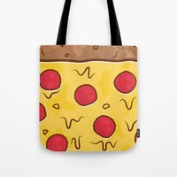 pizza Tote Bags featuring Pizza by Michael Walchalk