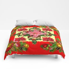 RED & PINK POINSETTIAS CHRISTMAS ORNAMENTS ART Comforters