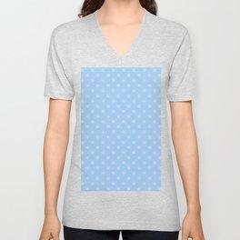 White on Baby Blue Snowflakes Unisex V-Neck