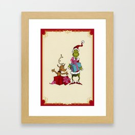 Grinch and Max Framed Art Print