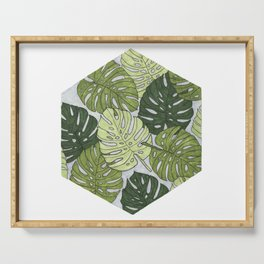 Monstera Hexagon Pattern Serving Tray