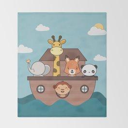 Kawaii Cute Zoo Animals On A Boat Throw Blanket