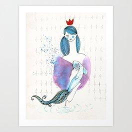 Girl and fish (sustenance) Art Print