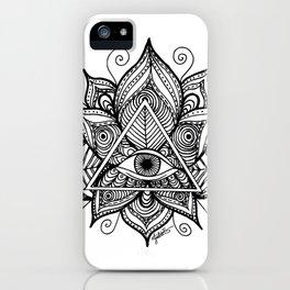 Black and White Evil Eye Lotus iPhone Case