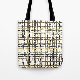 Black and Gold Loose Plaid Tote Bag
