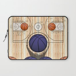 Colorful Purple basketballs on a Basketball Court Laptop Sleeve