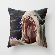 Mako Shark of Dark Waters Throw Pillow