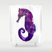 sea horse Shower Curtains featuring Sea horse by Julia Brnv