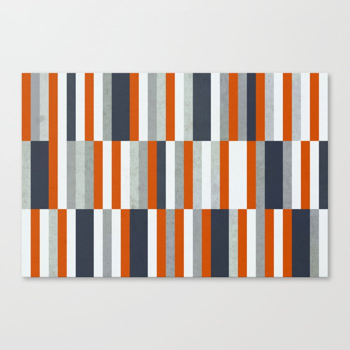 Orange, Navy Blue, Gray / Grey Stripes, Abstract Nautical Maritime Design by Leinwanddruck