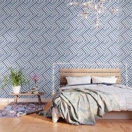 Watercolor lines pattern | Navy blue Wallpaper