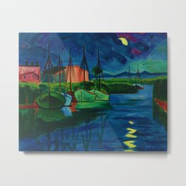 Moonlit Summer Night with Sailboats (Abend) by Hermann Max Pechstein Metal Print