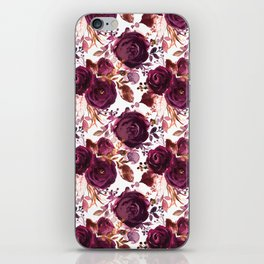 Burgundy pink white watercolor hand painted floral iPhone Skin