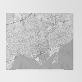 Toronto Map Line Throw Blanket