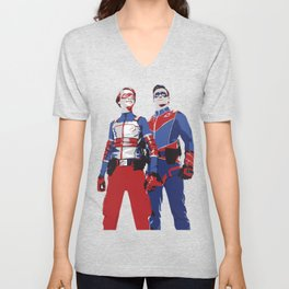 Captain Man and Kid Danger Lineart silhouette heroic Unisex V-Neck