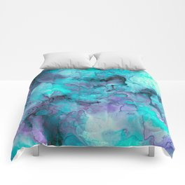 Abstract lilac teal aqua watercolor pattern Comforters